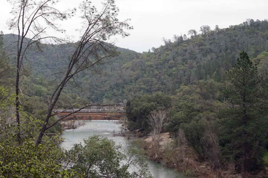 Looking back at the covered bridge in South Yuba River State Park.