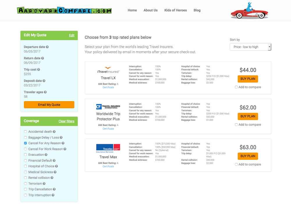 Comparing travel insurance prices for an airfare hack.