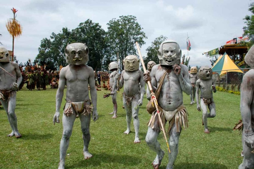 Mudmen performing at the Goroka show in Papua New Guinea.