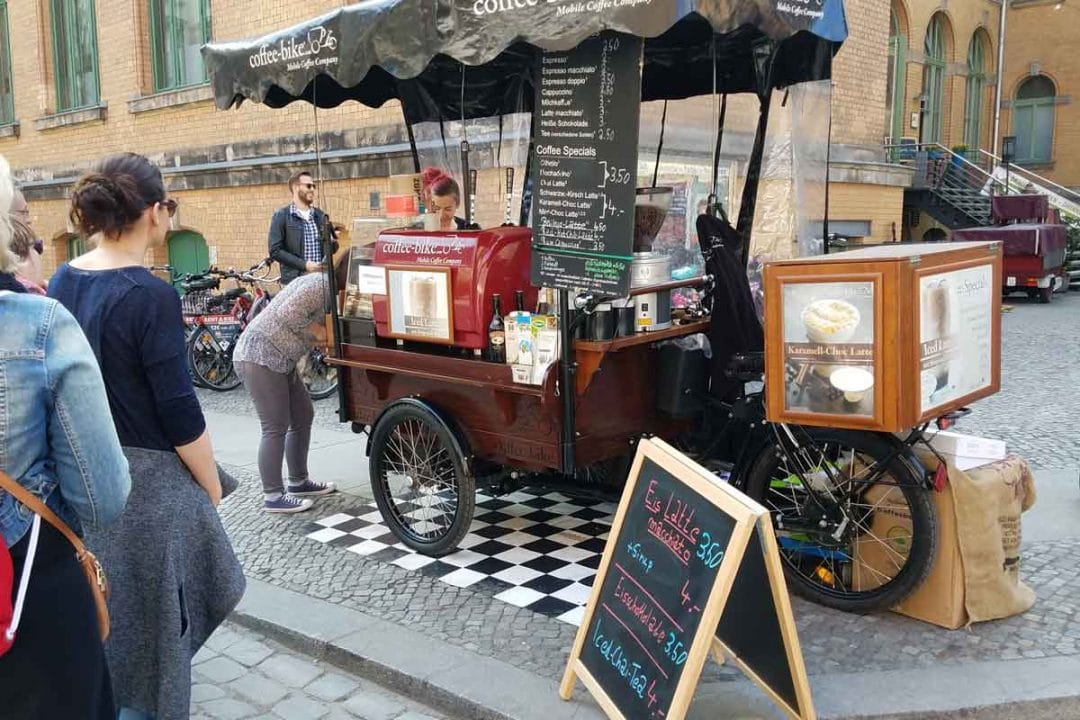 Berlin street food at the Kulturbrauerei with the coffee bike.