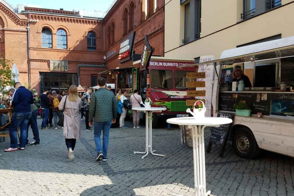 Berlin street food at the Kulturbrauerei with food trucks serving, yes, burritos for one.