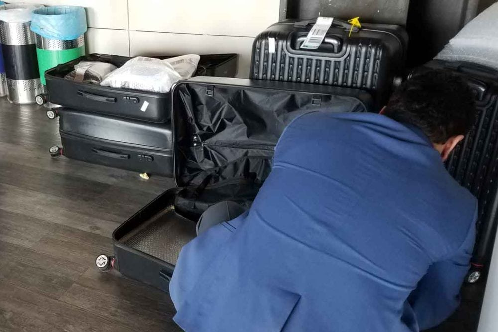 Hardshell suitcases for holding electronic devices banned because of electronics ban.
