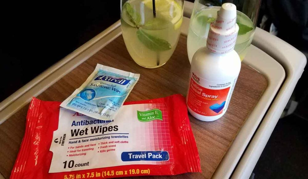 Fighting germs with hand sanitizer and wipes.