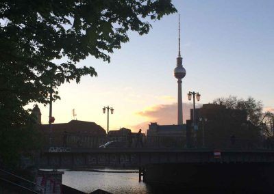 The TV Tower in Alexanderplatz at Sunset