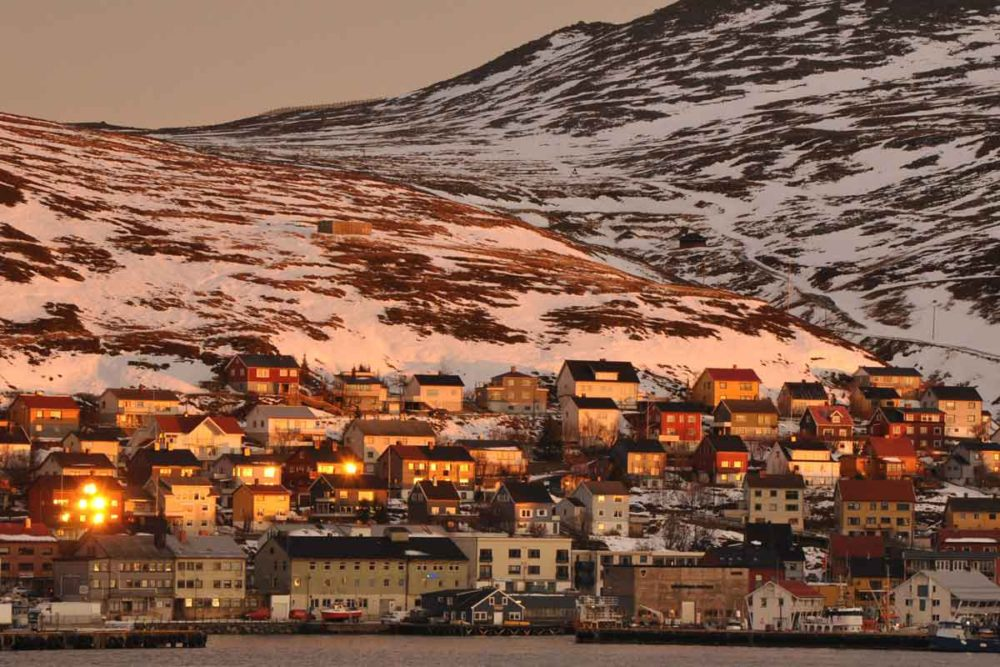 Honningsvag lights in winter are entrancing.