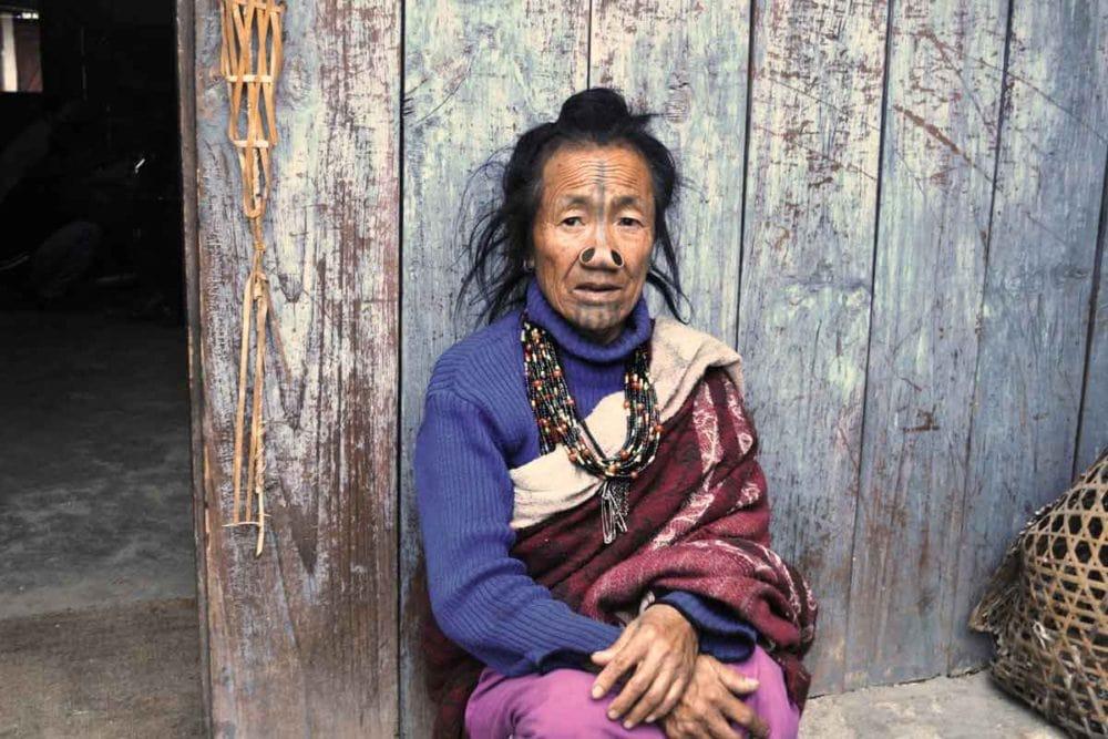 Apatani tribe member in India.
