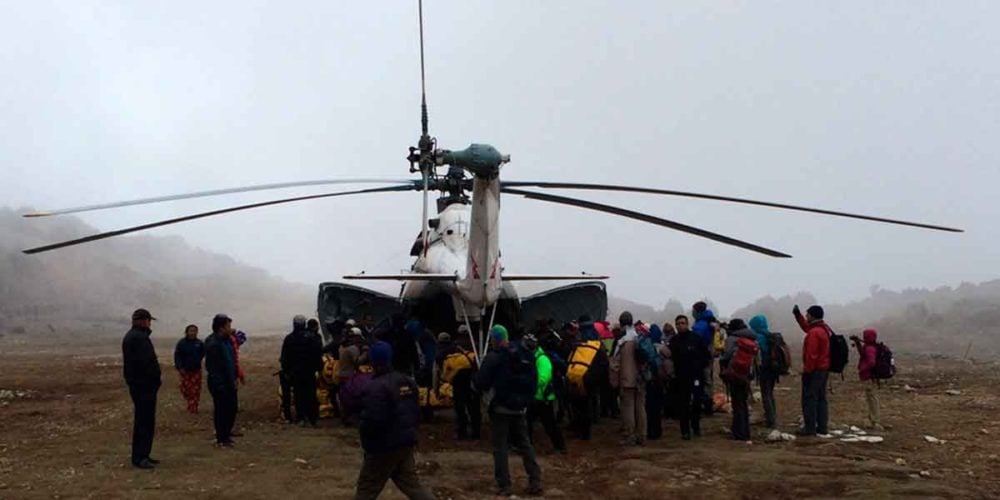 Group evacuation from Nepal from Ripcord Rescue Travel Insurance.