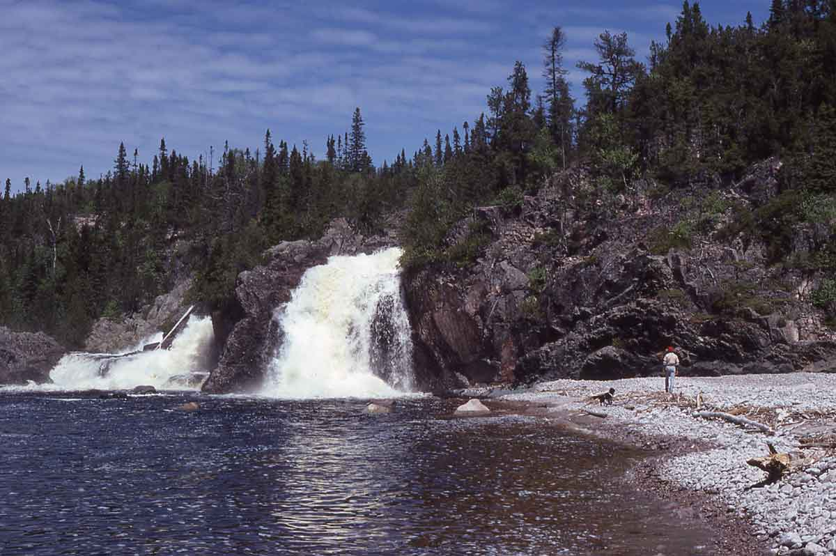 Cascades Falls drops directly into Lake Superior in a spectacular fashion and is very near Otter Island.