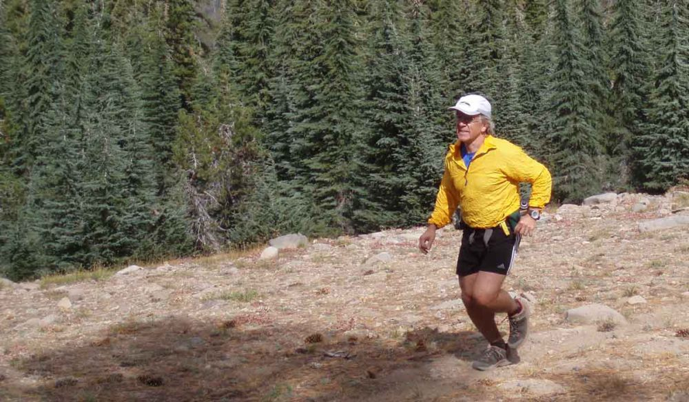 Michael keeping his travel fitness by running on Lola Peak.