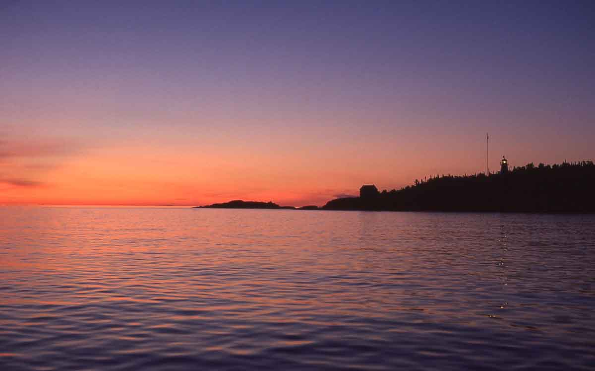 Otter Island Lighthouse sends out a white flash of light every 10 seconds to assist mariners and anyone boating along the shoreline.