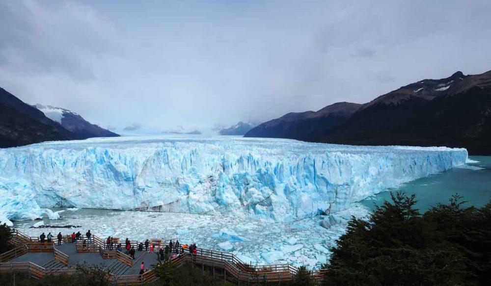 Trekking Patagonia arrives at the Perito Moreno glacier.