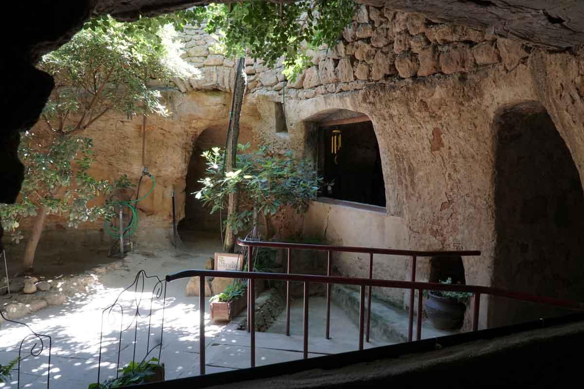 Underground garden room with plants