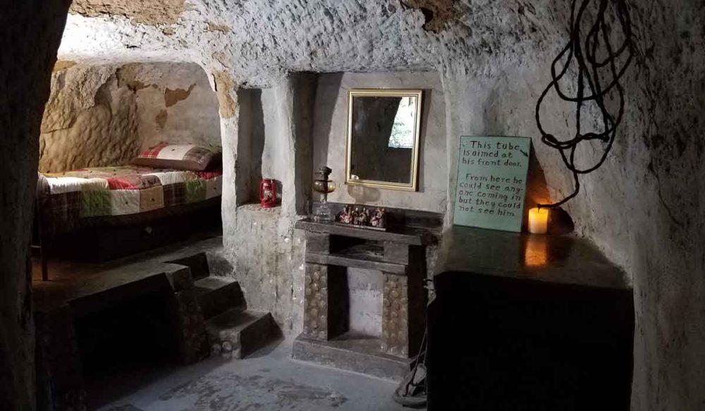 The summer bedroom in the Underground Gardens.