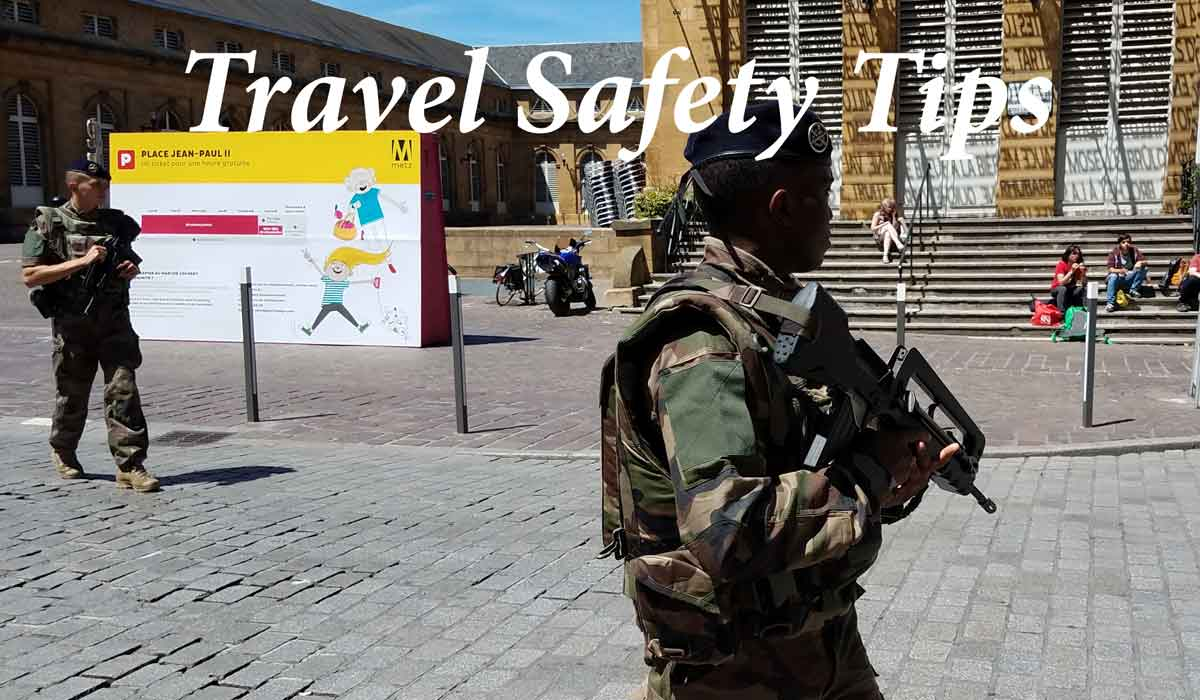 Travel safety tips cover image with soldiers in France.