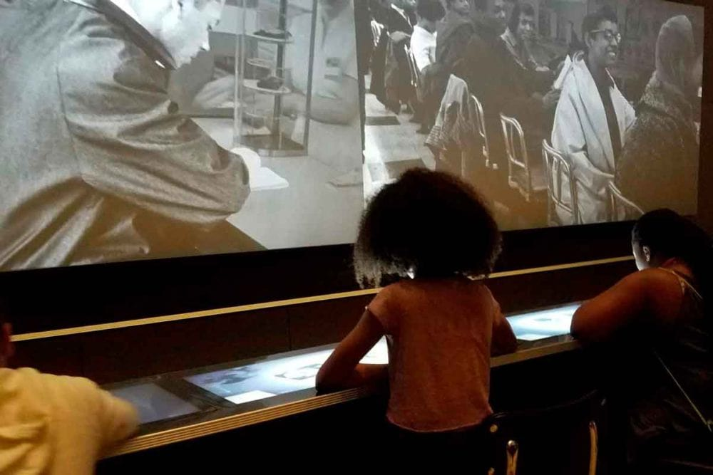 Interactive lunch counter at the African American Museum.
