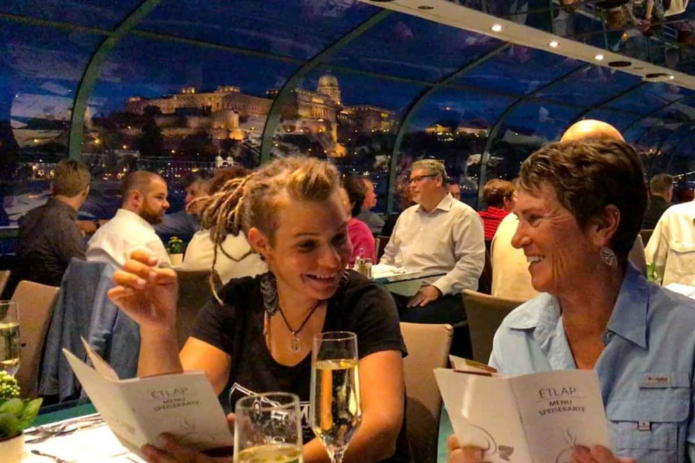 Dinner cruise in Budapest on the Danube River.