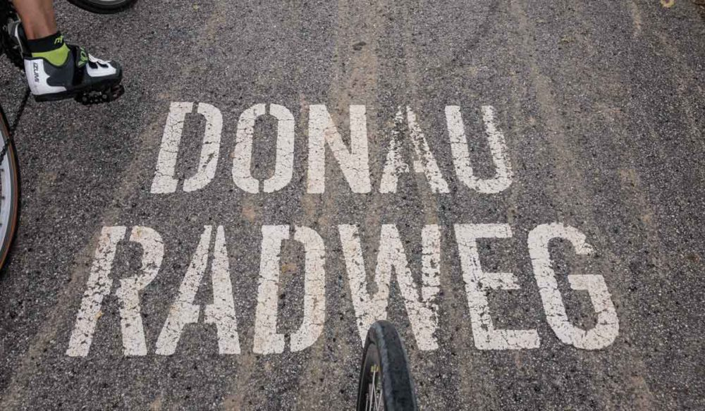 Danube river bike pathway marking.
