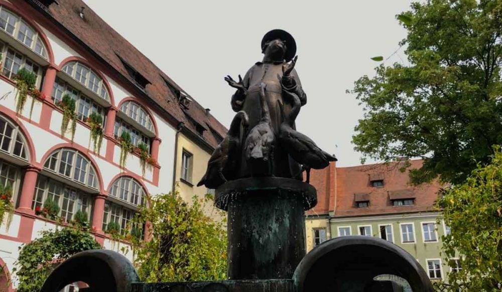 Gooseman statue in Regensburg.
