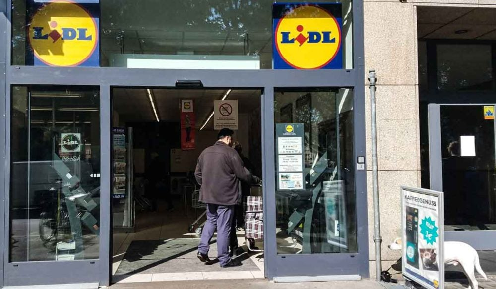 Lidl grocery store entrance to be familiar with when shopping in Germany.