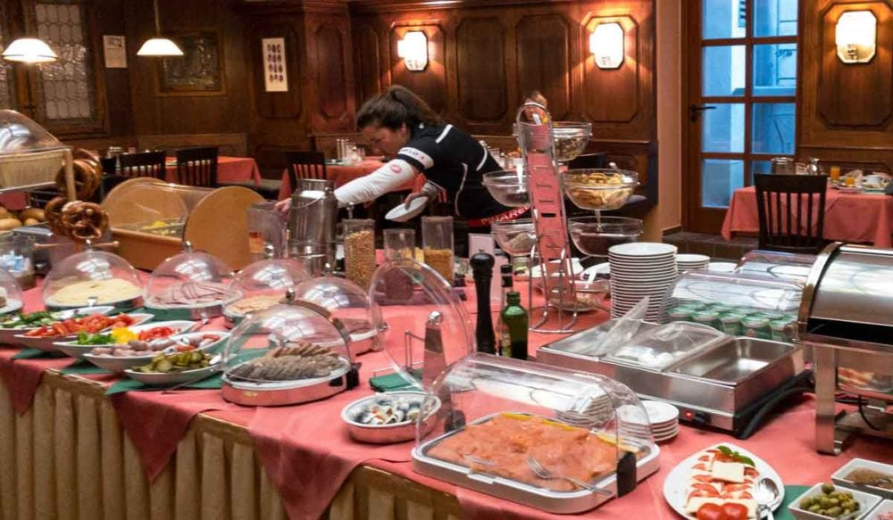 Hotel breakfast buffets in Europe.