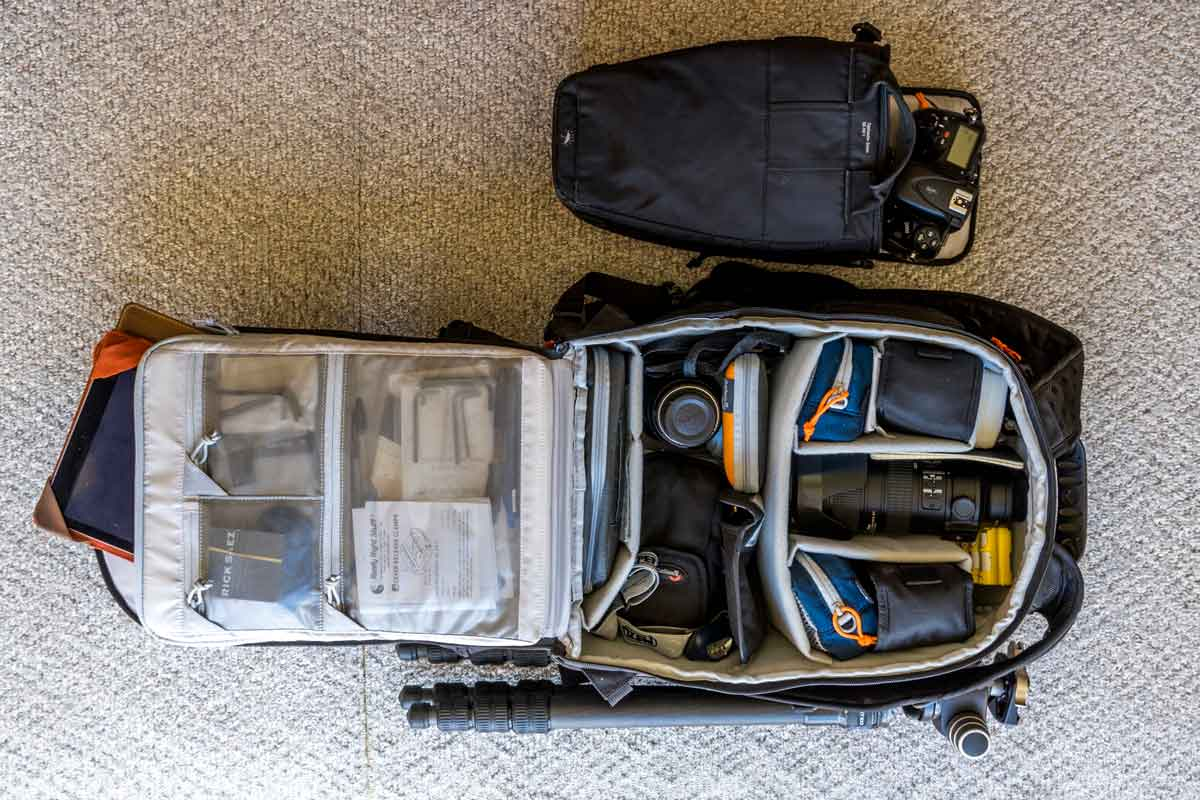 Packing your photo gear for travel in padded bags.
