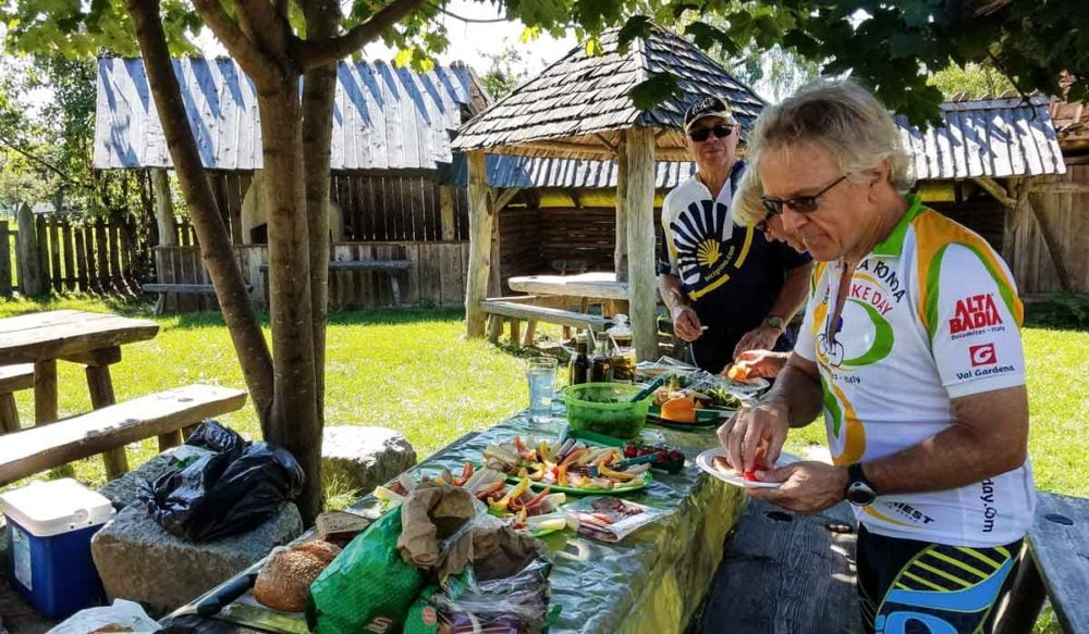 A picnic lunch on bike tour.