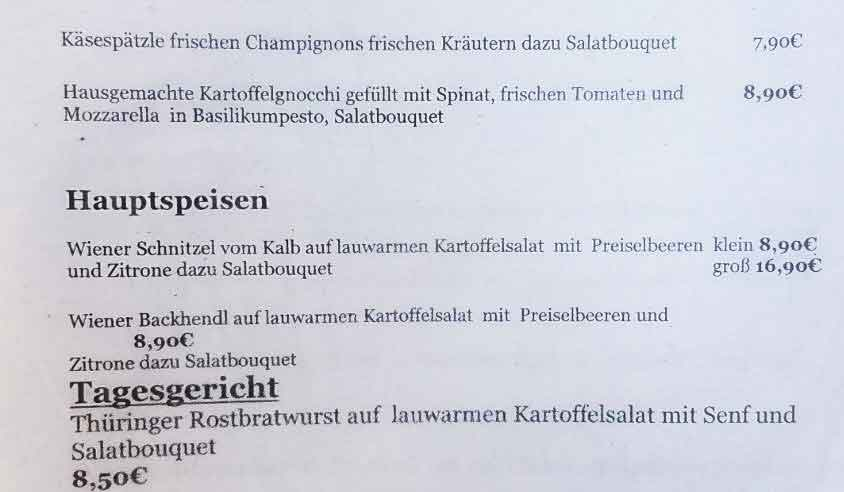 Dining in Germany sample food menu