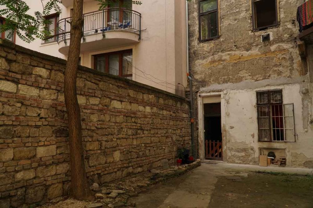 What to see in Budapest -- the ghetto wall in the Jewish Quarter.