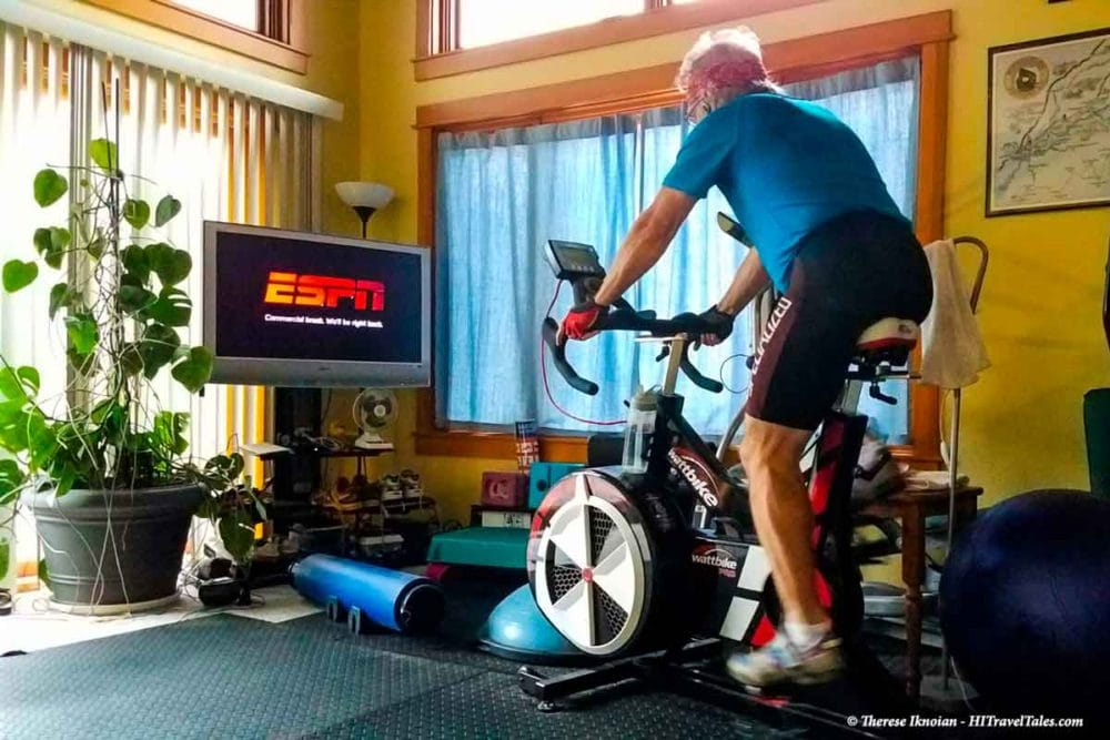 Bike tour training by riding an indoor WattBike.