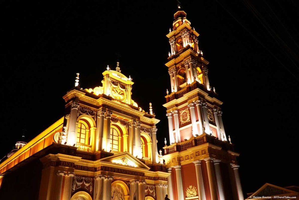 Iglesia San Francisco at night in Salta