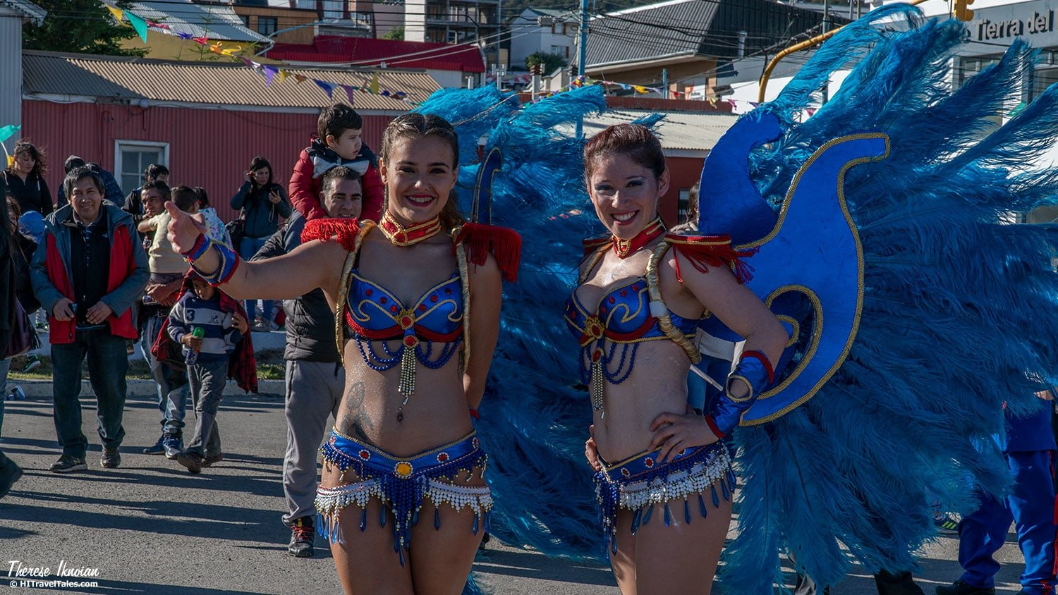 Ushuaia's winged princesses were happy to pose for photos after the parade.