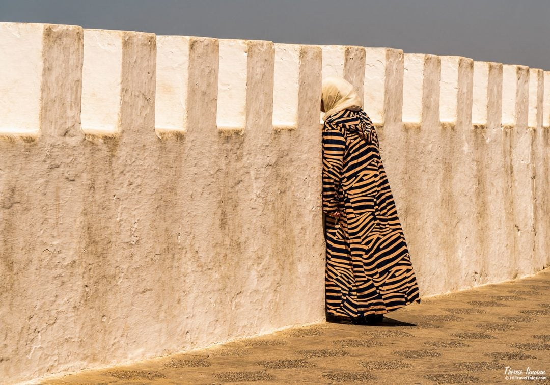Asilah Morocco Woman At Ramparts Sunset