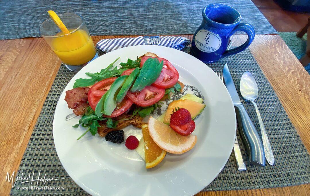 BAAT Breakfast With Fresh OJ At Brewery Gulch Inn In Mendocino