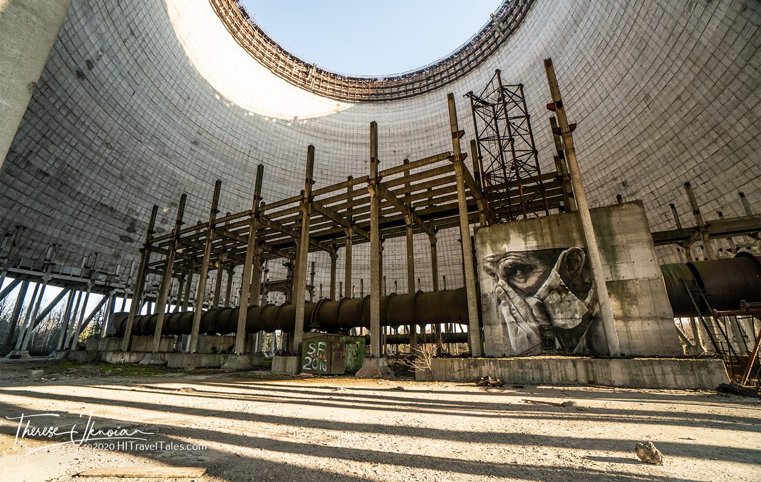 The cooling tower for Reactor 5 was under construction, too, but came to a halt. The mural by Australian artist Guido Van Helton was completed for the disaster's 30th anniversary and was the first street art done by permission in the Chernobyl zone.