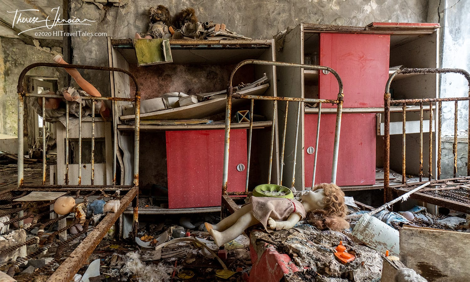 This is the image many think of when imagining what Chernobyl looks like today. A childcare center continues to disintegrate as you fully sense lives destroyed. Rusty beds are lined up in former nap rooms, with dolls and toys scattered about.