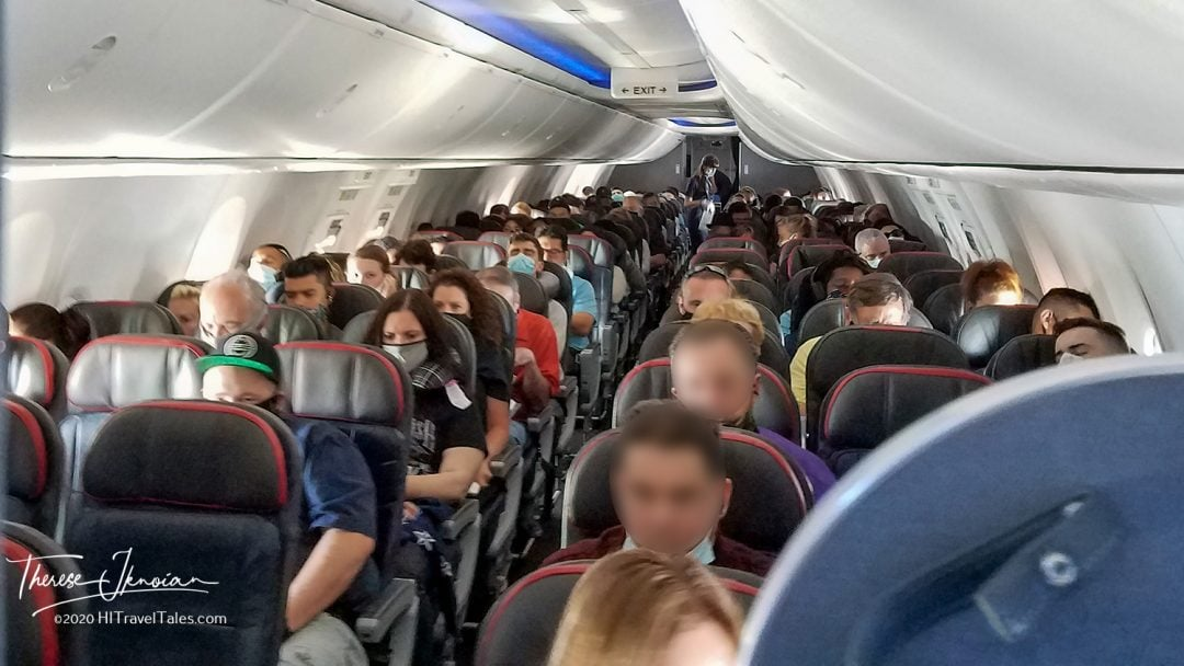 Crowded Airplane No Masks