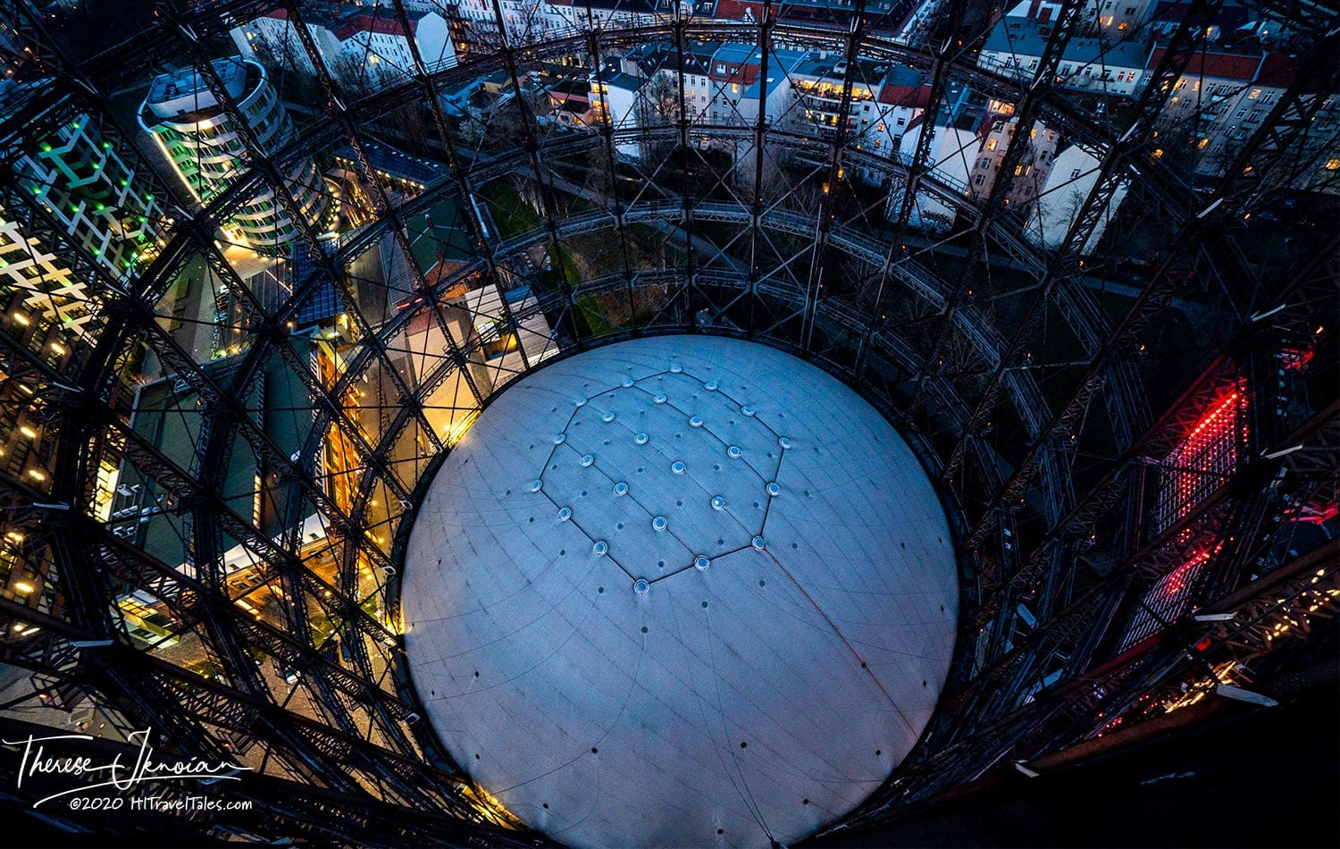 Looking down into the Berlin Gasometer at night