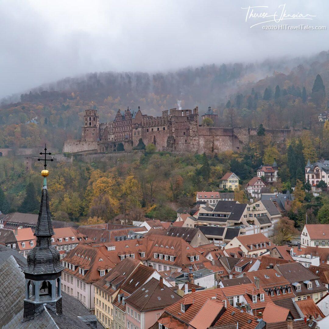 Germany Heidelberg Castle In Fog