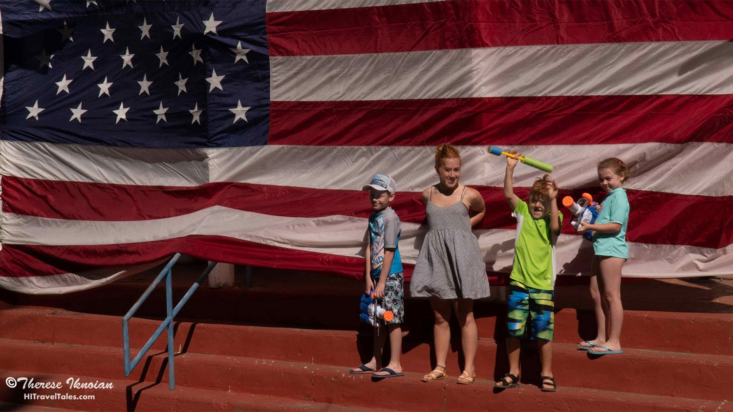 Flags hang all around the town, making for a great photo opp for all.