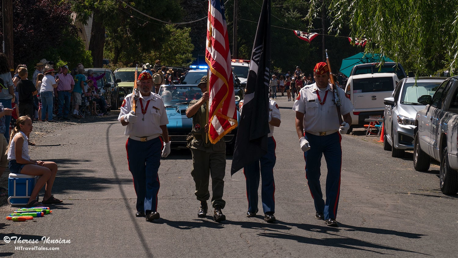 Like most July 4th parades, the Dutch Flat 4th of July parade starts on a serious note with a color guard - and no one sprays water on them out of respect!
