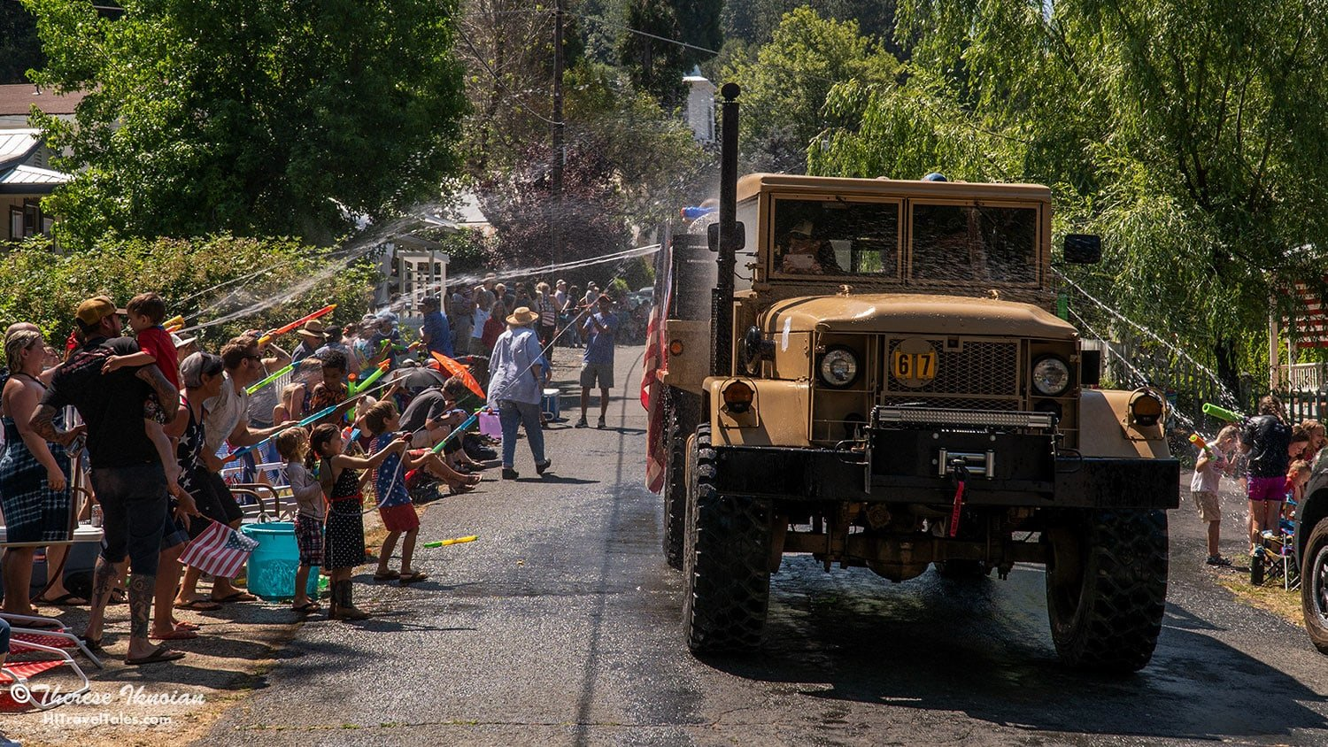 When you bring an old Army truck to the Dutch Flat 4th of July water fight, you know it's serious.