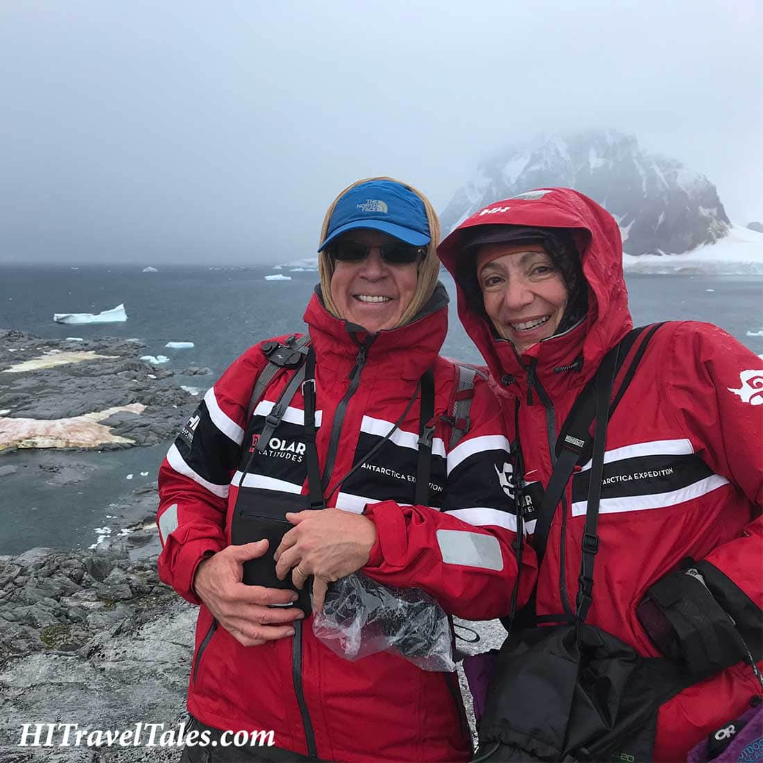 Michael and Therese staying warm in Antarctica