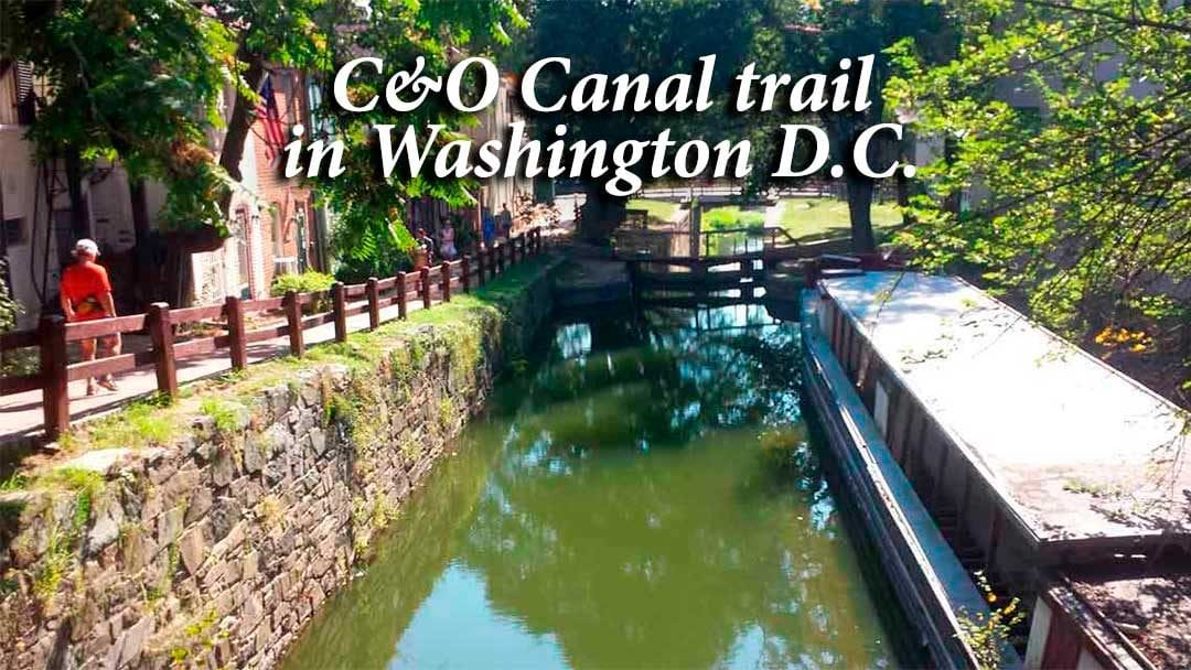C&O Canal Trail with barge in Washington D.C.