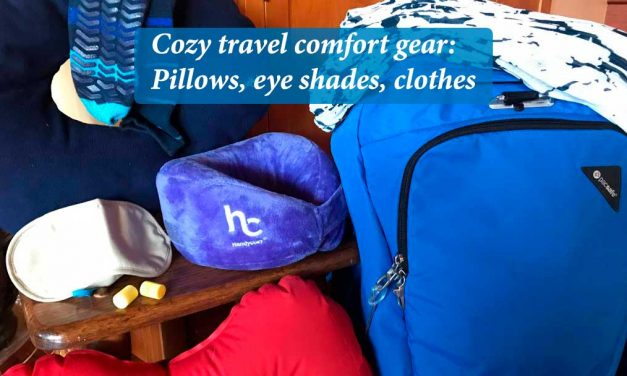 Cozy travel comfort gear: Pillows, eye shades, clothes