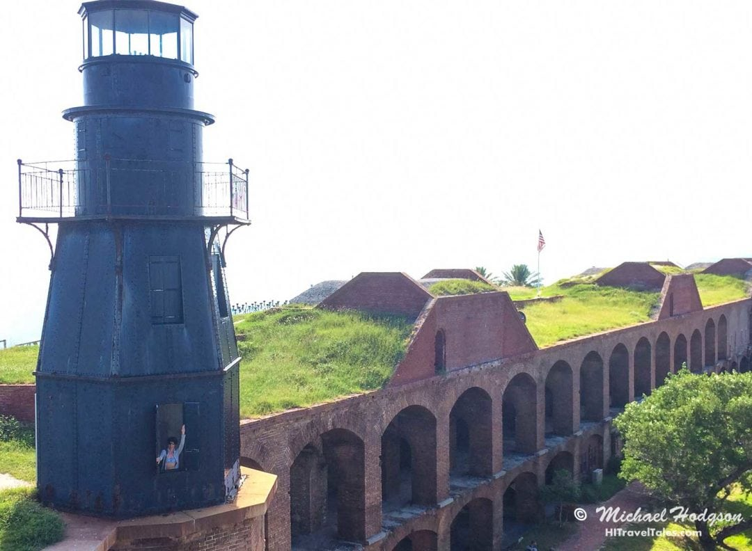 Dry Tortugas Fort view of the lighthouse from the walls