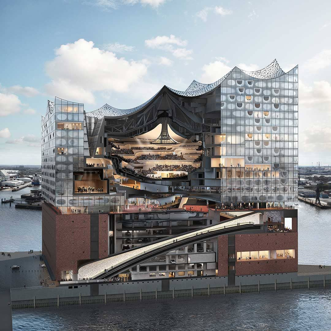 Cross-sectional view of the Hamburg Elbphilharmonie