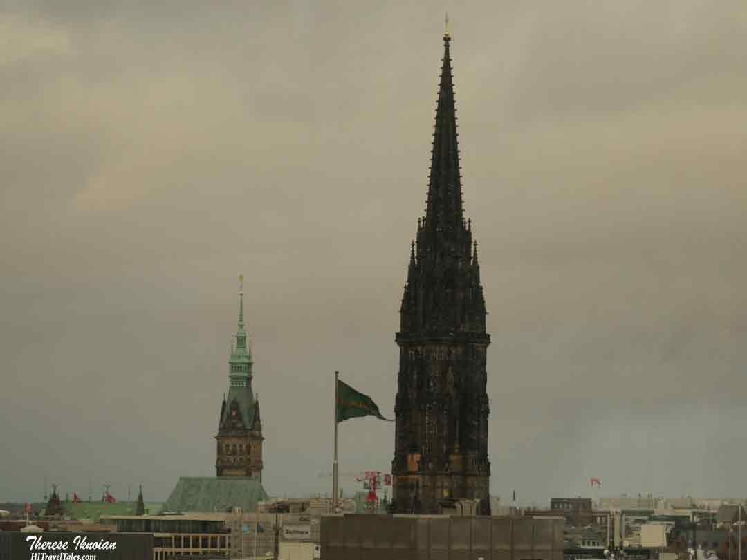 Hamburg skyline with church towers.