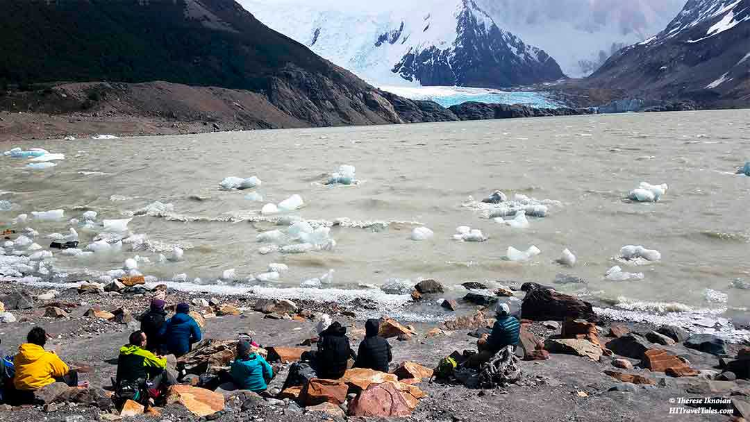 Our Walk Patagonia group eats lunch by Laguna Torre in Patagonia.