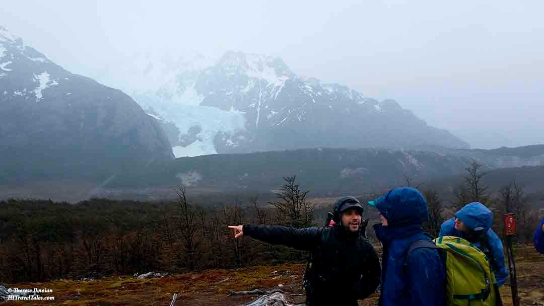 Pablo talking about glaciers during our trek in Patagonia.