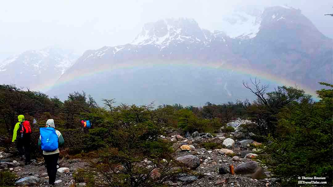 A rainbow on our trek in Patagonia